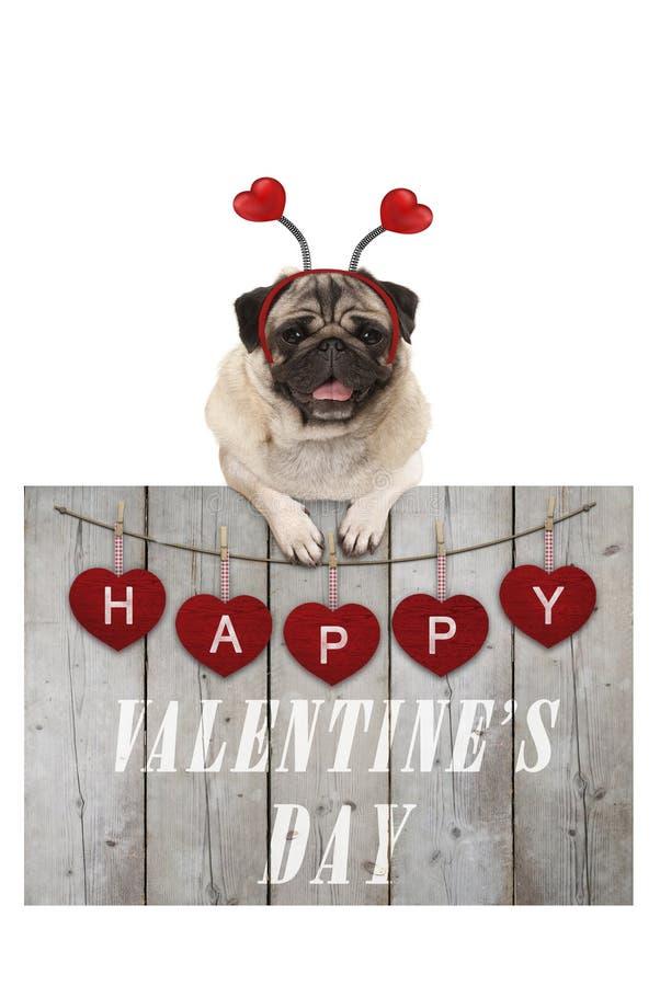 Perro de perrito lindo del barro amasado que se inclina en la cerca de madera de la madera usada del andamio con los corazones ro foto de archivo