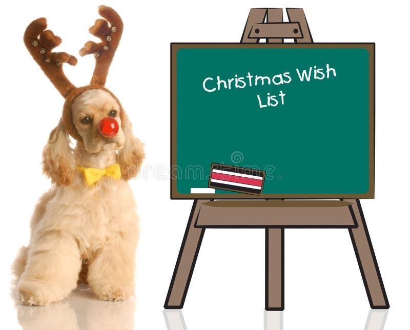 Perro de Rudolph con la lista de objetivos imágenes de archivo libres de regalías
