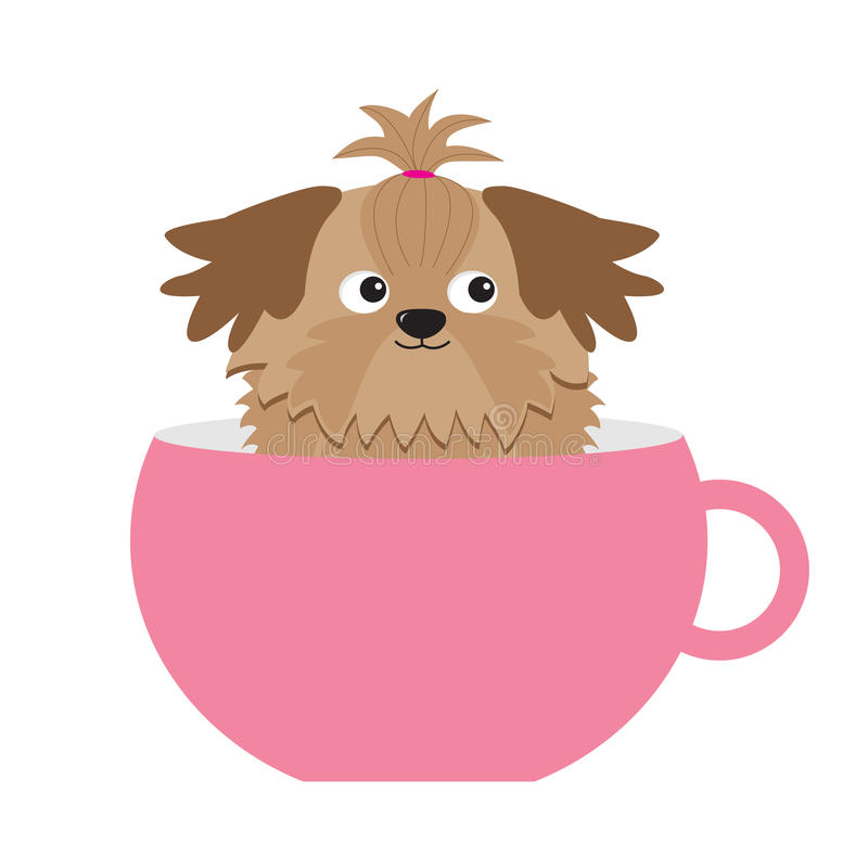 Perro de Shih Tzu que se sienta en taza rosada Personaje de dibujos animados lindo Diseño plano Fondo blanco libre illustration