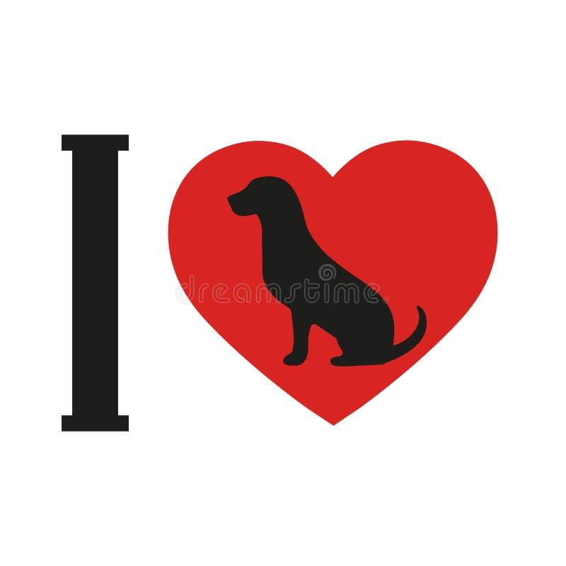 Perro del amor de la muestra i en el fondo blanco Perro de la silueta con el corazón libre illustration