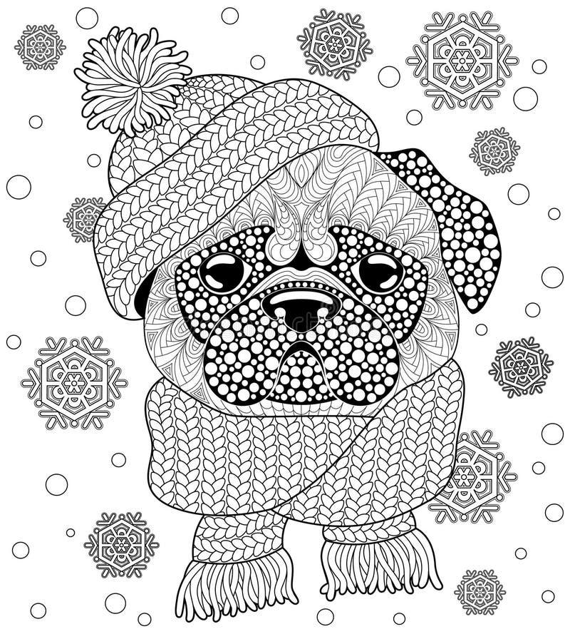 Perro del barro amasado con el sombrero y la bufanda hechos punto Tatuaje o página antiesfuerza adulta del colorante Garabato dib stock de ilustración