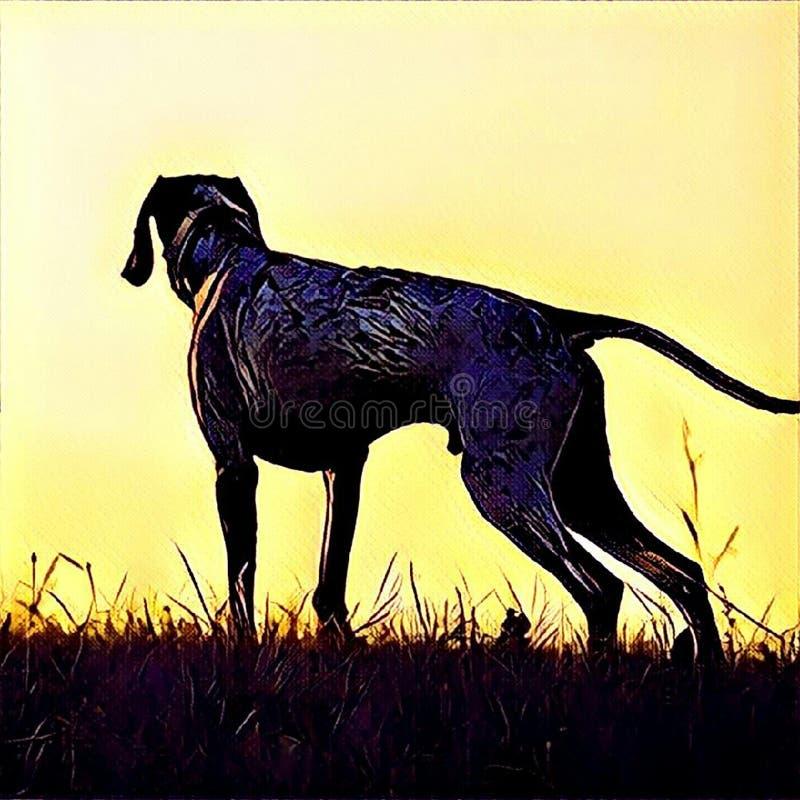 Perro del cazador stock de ilustración