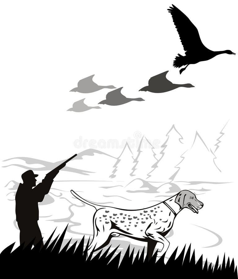Perro del cazador y del puntero libre illustration