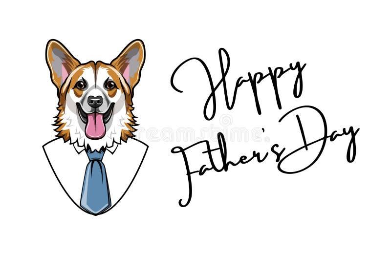 Perro del corgi Galés Tarjeta de felicitación del día de padres Regalo del papá Camisa, corbata, lazo Vector ilustración del vector