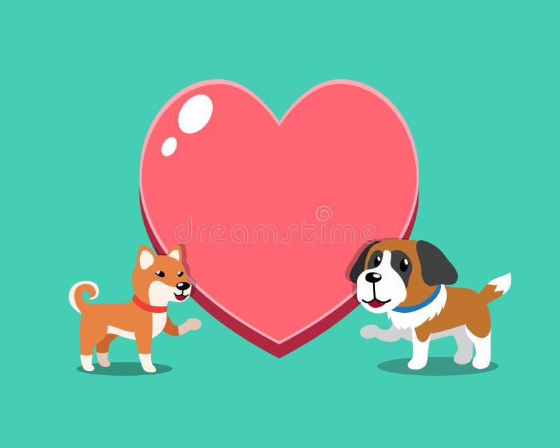 Perro del inu del shiba del personaje de dibujos animados y perro de St Bernard con el corazón grande ilustración del vector