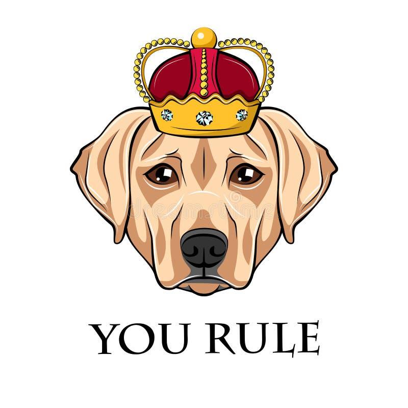 Perro del labrador retriever en corona Ilustración del vector stock de ilustración