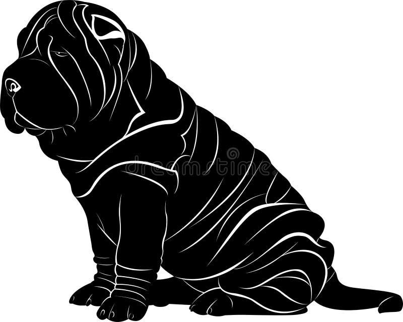 Perro del pei de Shar aislado en el fondo blanco ilustración del vector