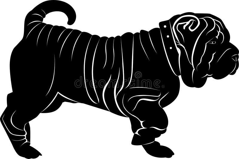 Perro del pei de Shar aislado en el fondo blanco libre illustration