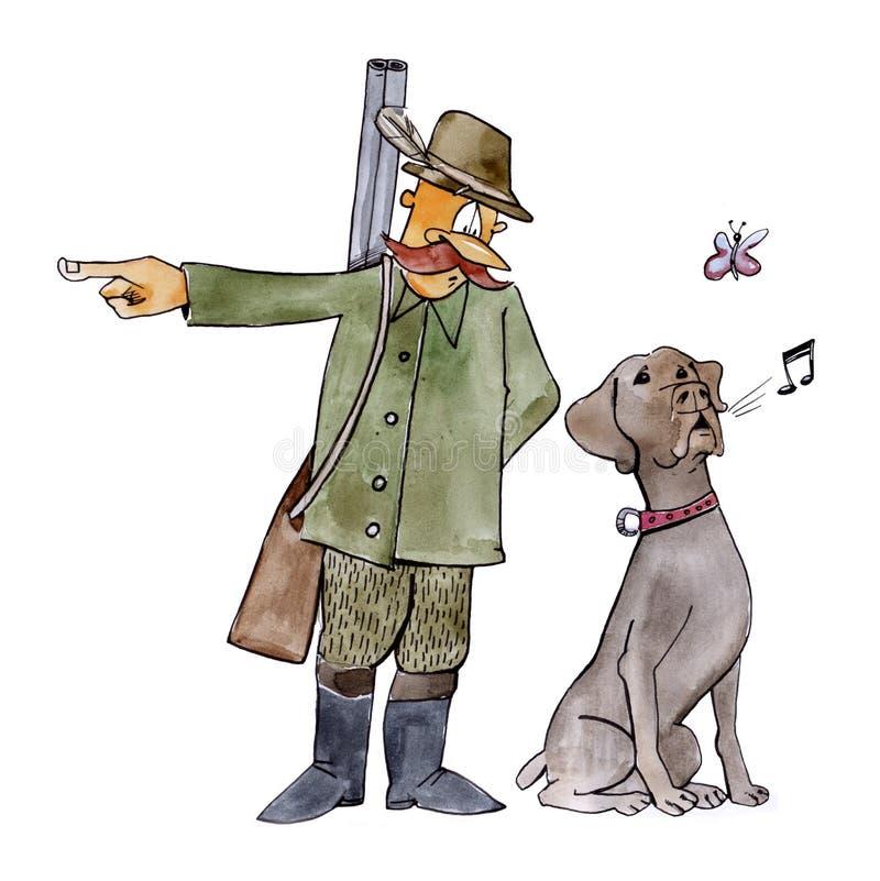 Perro del puntero en la caza stock de ilustración