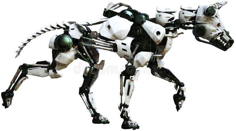 Perro del robot, máquina mecánica, aislada stock de ilustración