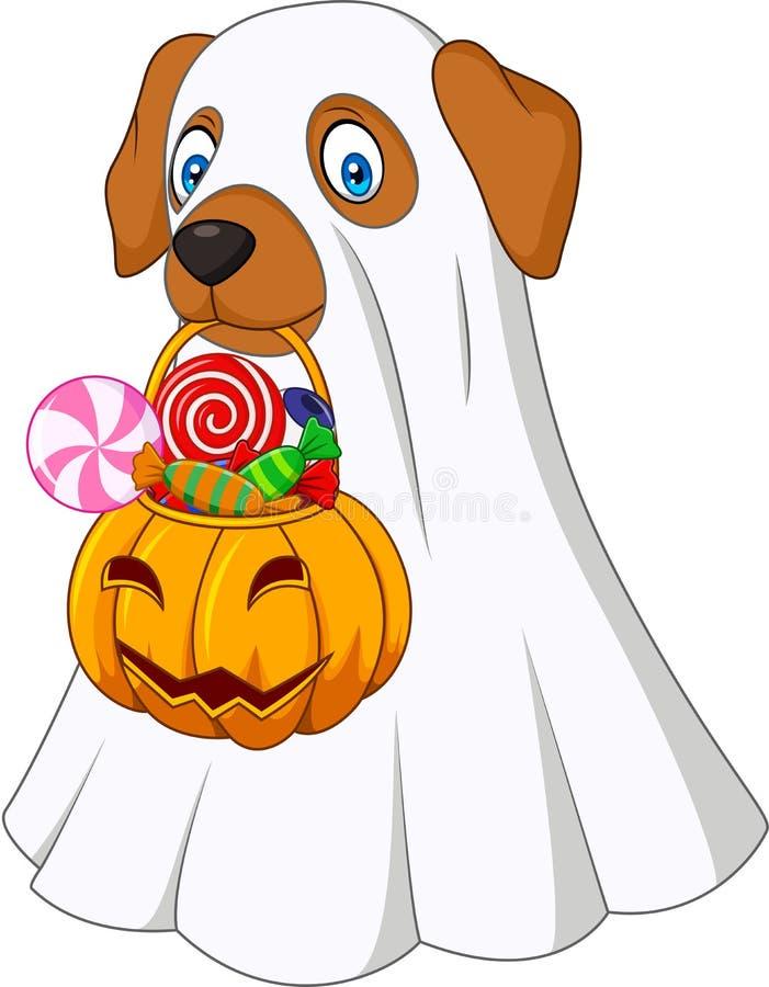 Perro del traje de Halloween que sostiene el caramelo lleno del bolso de la calabaza libre illustration