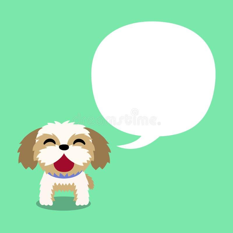 Perro del tzu del shih del personaje de dibujos animados del vector con la burbuja blanca del discurso stock de ilustración