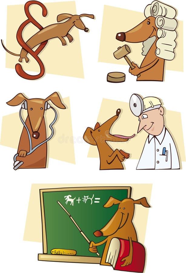 Perro divertido en situaciones de la vida ilustración del vector
