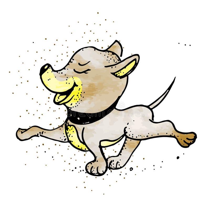 Perro divertido marrón lindo, ejemplo del vector de la historieta del carácter del perrito aislado en el fondo blanco ilustración del vector