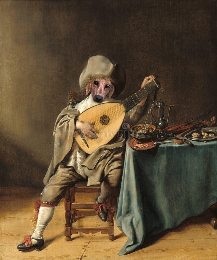 Perro divertido, parodia de la pintura al óleo, surrealista imagenes de archivo
