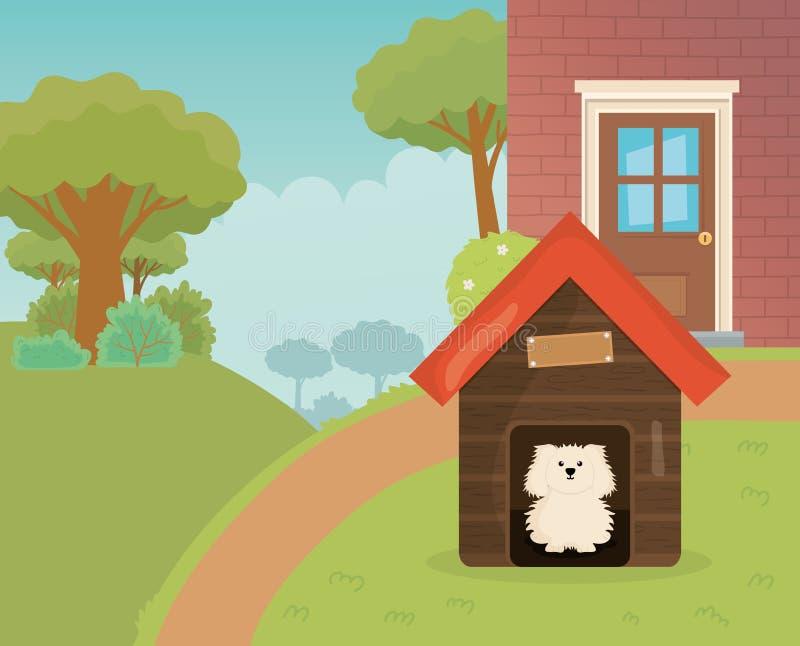 Perro en el camino del árbol del jardín de la casa cuidado de mascotas stock de ilustración