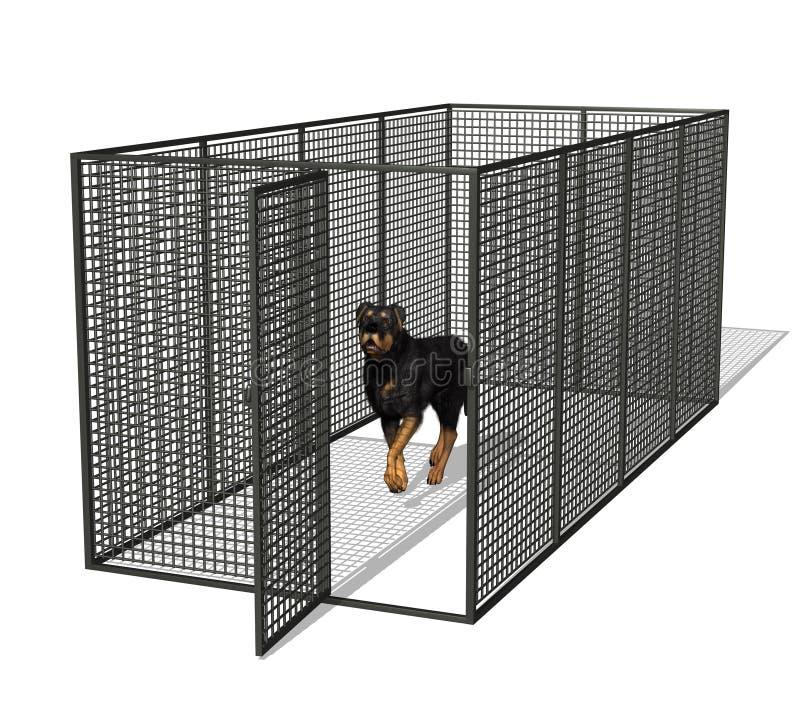 Perro en perrera stock de ilustración