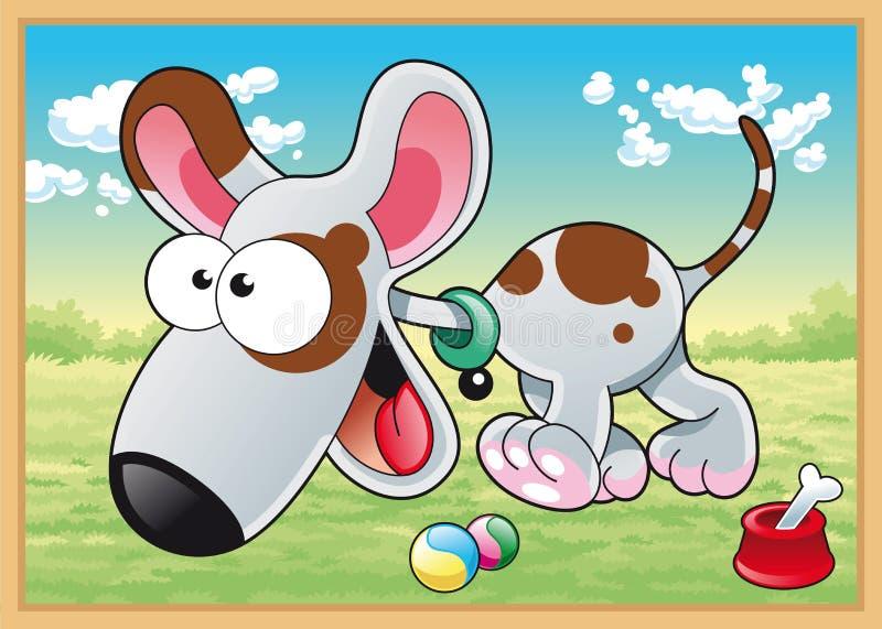 Perro en prado stock de ilustración