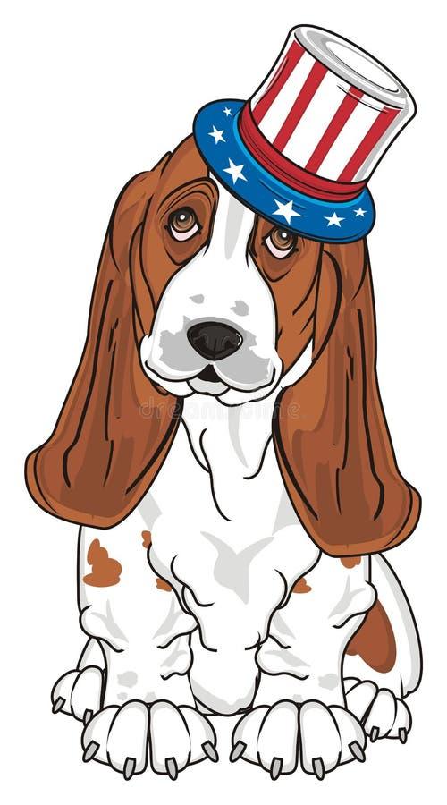 Perro en sombrero con la bandera libre illustration