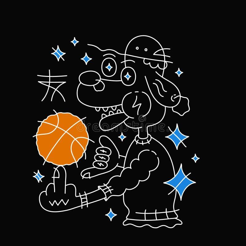 Perro en sombrero con la bola del baloncesto Vector ilustración del vector
