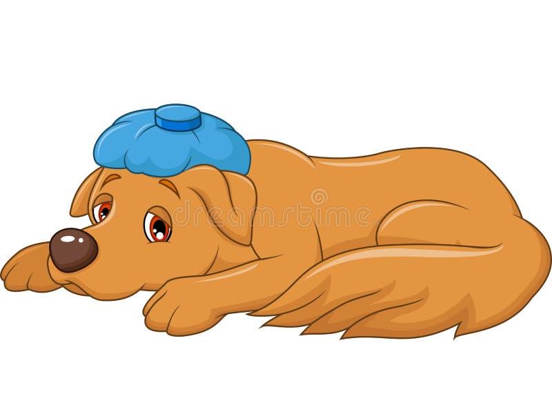 Perro enfermo de la historieta con el bolso de hielo, en el fondo blanco libre illustration