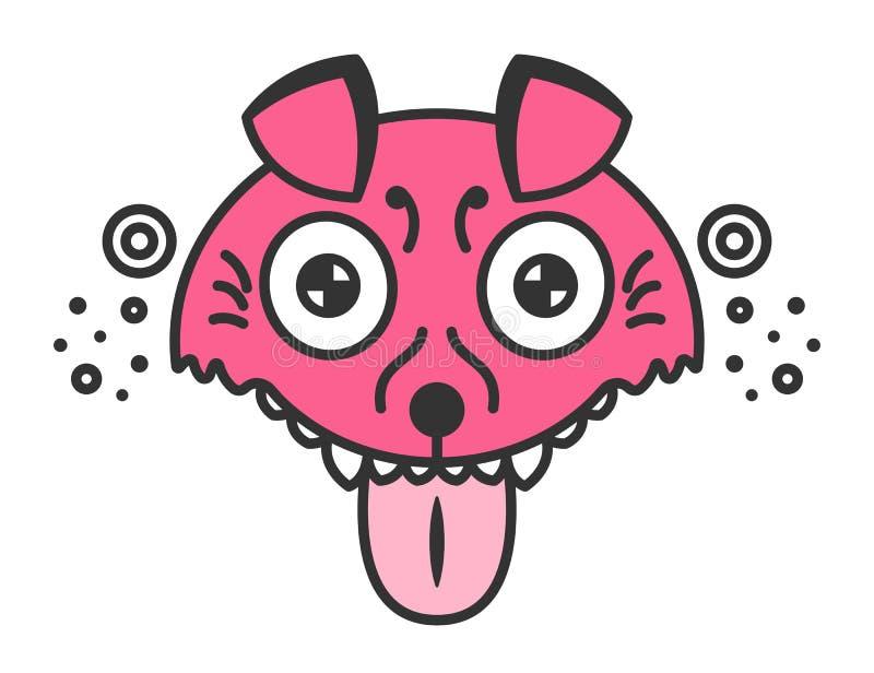 Perro enojado Perrito rosado de la historieta Ejemplo divertido aislado en blanco fotos de archivo