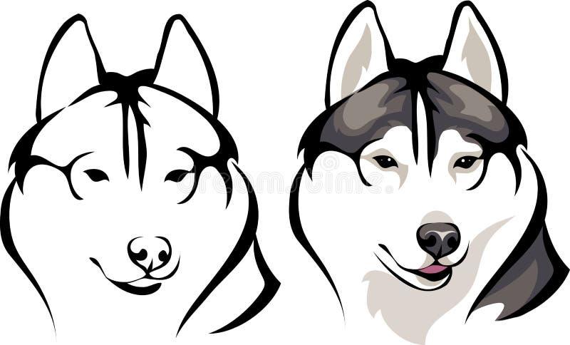 Perro esquimal sonriente stock de ilustración