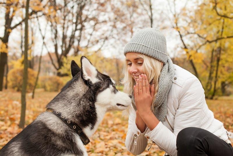 Perro esquimal sonriente del perro del entrenamiento de la mujer al aire libre imagen de archivo
