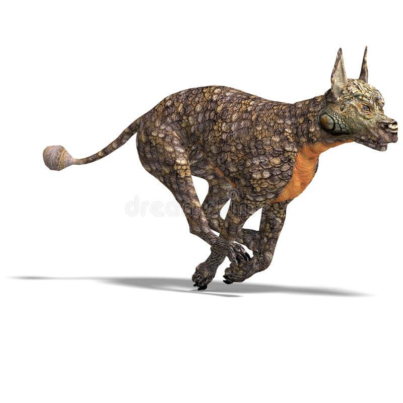 Perro extranjero peligroso con la piel del lagarto. 3D stock de ilustración