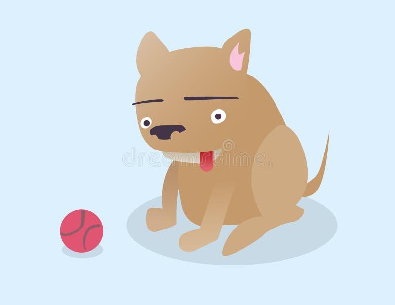 Perro feliz con una bola imagen de archivo