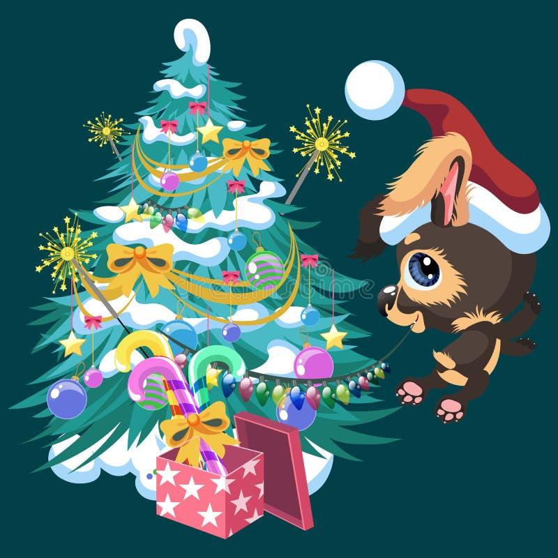 Perro feliz lindo de la historieta que adorna el árbol de navidad libre illustration