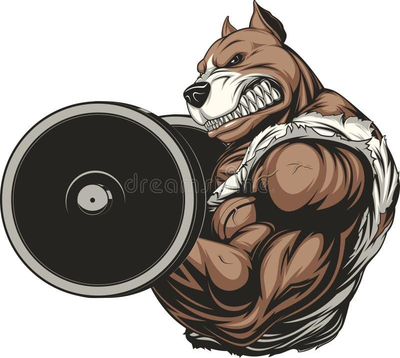 Perro feroz fuerte stock de ilustración