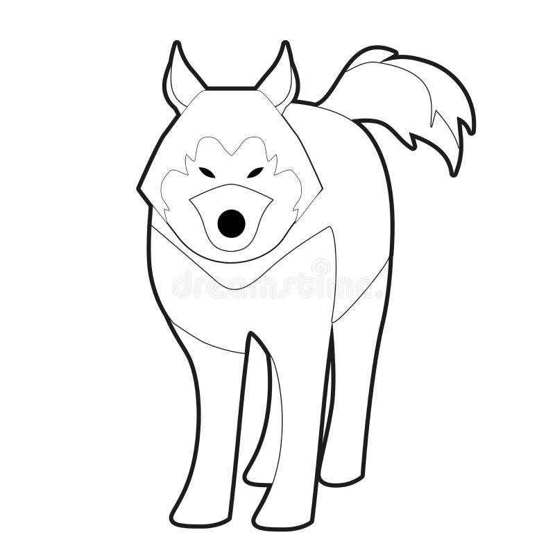 Perro fornido del trineo del estilo polar de la historieta de la raza aislado en el fondo blanco libre illustration