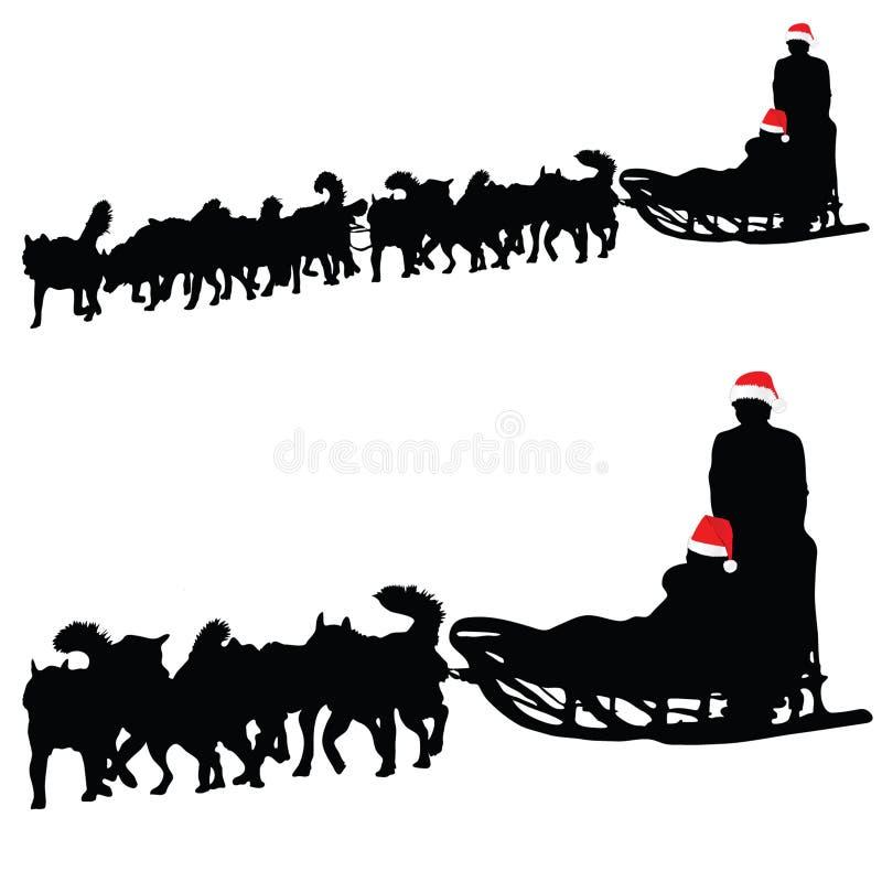 Perro fornido que tira de vector del Año Nuevo del trineo libre illustration