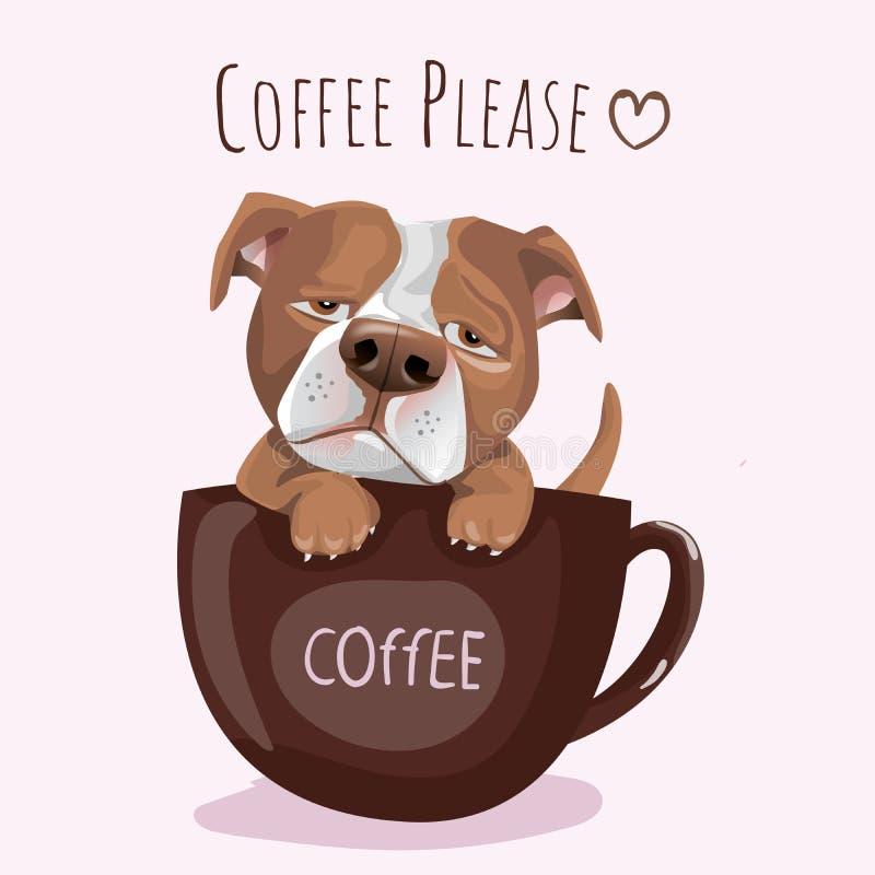 Perro francés exhausto de Pitbull del lema y de la mano de la tipografía con el café para imprimir, camiseta stock de ilustración