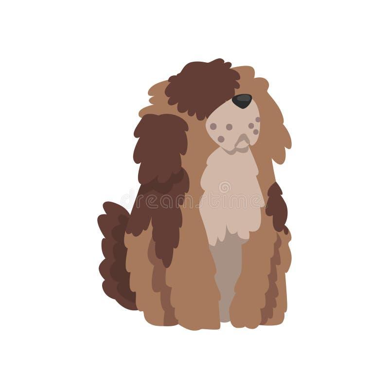 Perro lanudo lindo, carácter divertido del animal doméstico, ejemplo humano peludo del vector del amigo stock de ilustración