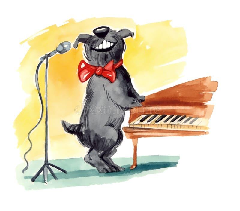 Perro lanudo que canta libre illustration
