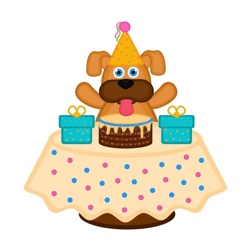 Perro lindo con un sombrero del partido, una torta y los presentes ilustración del vector