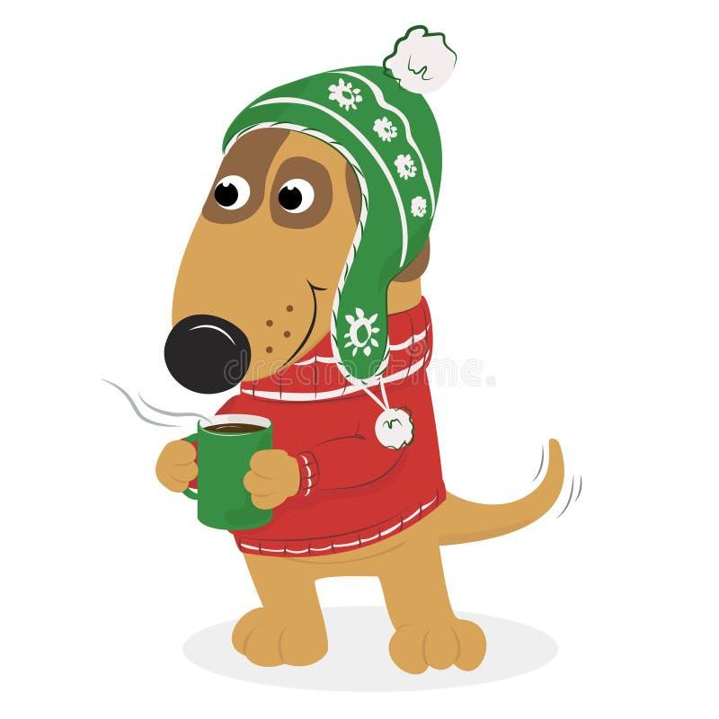 Perro lindo de la historieta en un casquillo y un suéter y un café ilustración del vector