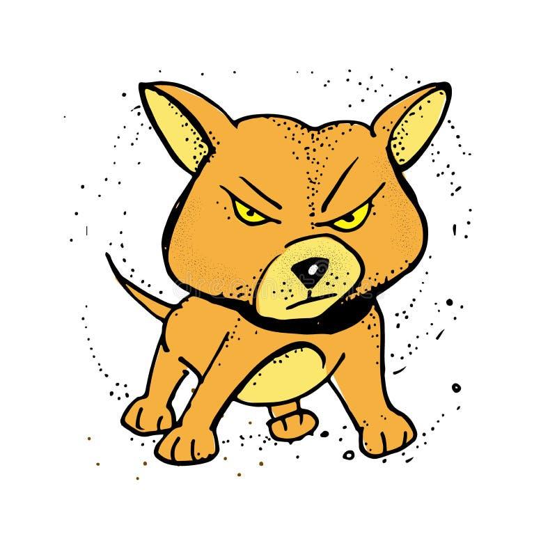Perro lindo de la historieta Perro enojado Ilustración del vector Cartel, composición de la camiseta, libre illustration