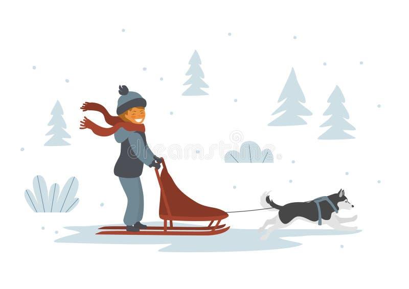 Perro lindo de la muchacha sledding el ejemplo aislado del vector libre illustration