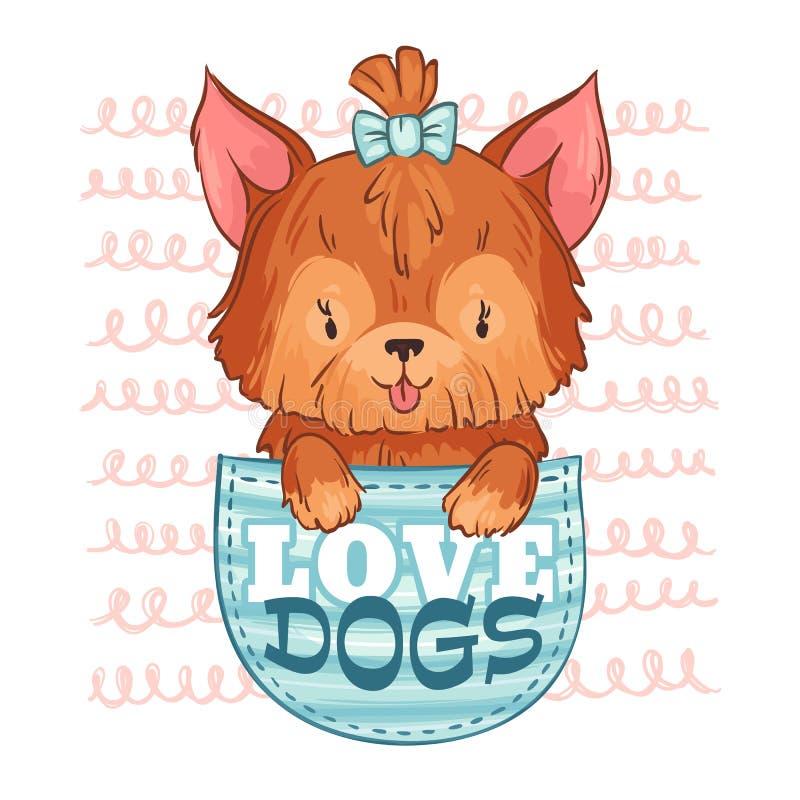 Perro lindo del bolsillo Perros del amor, pequeño perrito y ejemplo del vector del animal doméstico de la historieta libre illustration