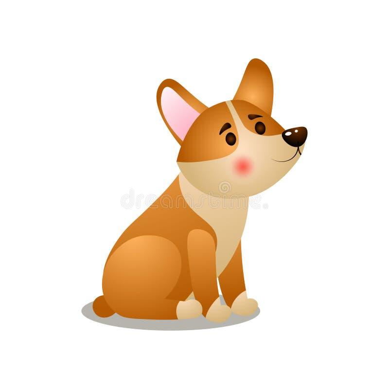 Perro lindo del corgi del perrito que espera su comida de la mañana libre illustration