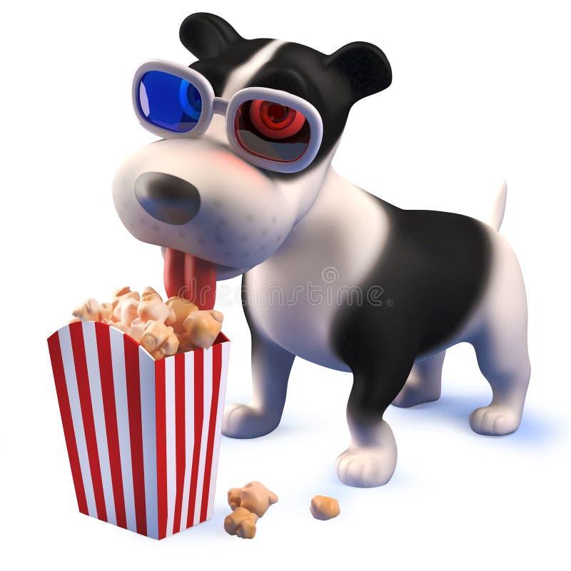 Perro lindo del perro de perrito que juega con un mazo de los subastadores en 3d stock de ilustración