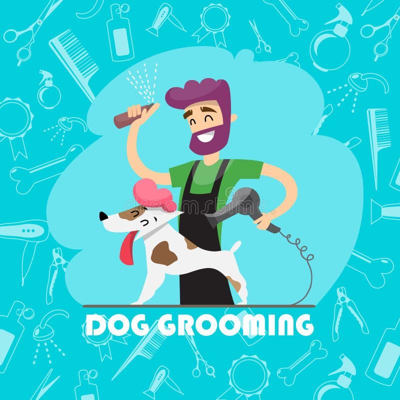 Perro lindo en el salón del groomer y el sistema de iconos ilustración del vector