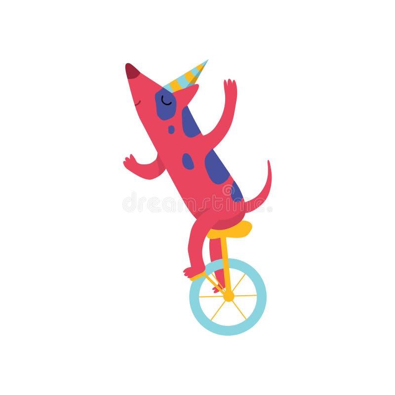 Perro lindo en el unicycle del montar a caballo del sombrero del partido, carácter animal de la historieta divertida en el ejempl ilustración del vector