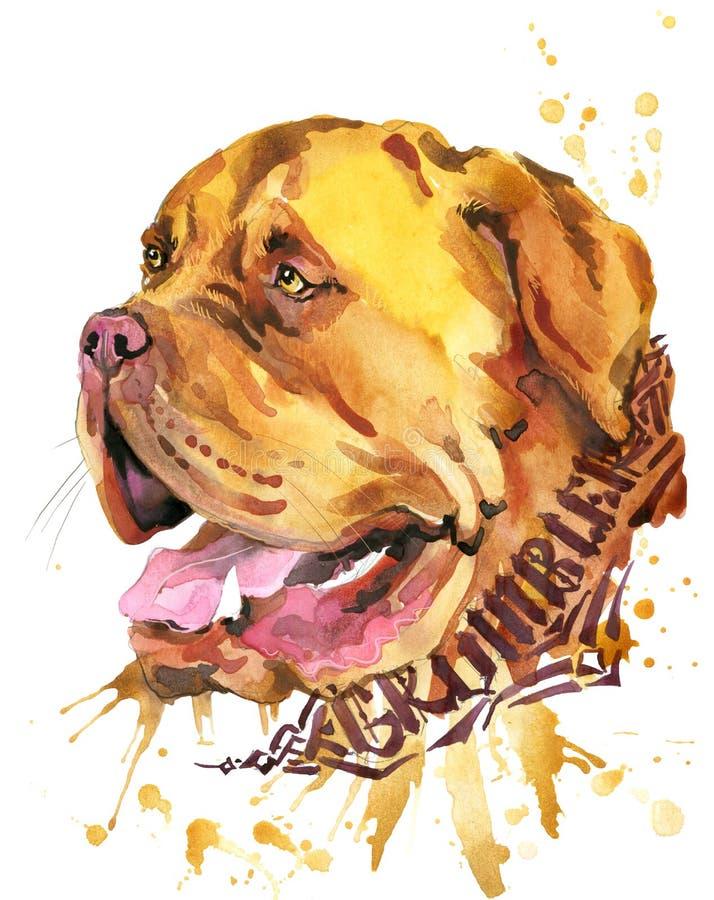 Perro lindo Gráficos de la camiseta del perro ejemplo del perro de la acuarela stock de ilustración