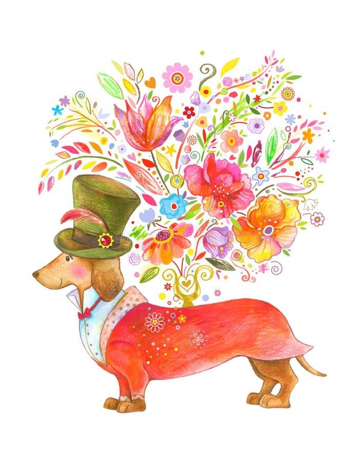 Perro lindo que da las flores stock de ilustración