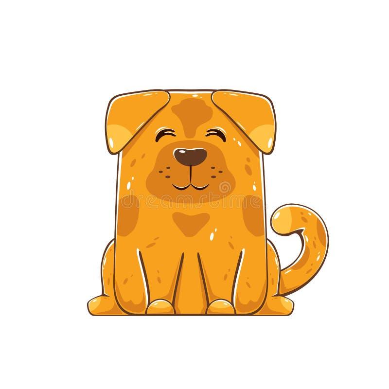 Perro marrón feliz ilustración del vector