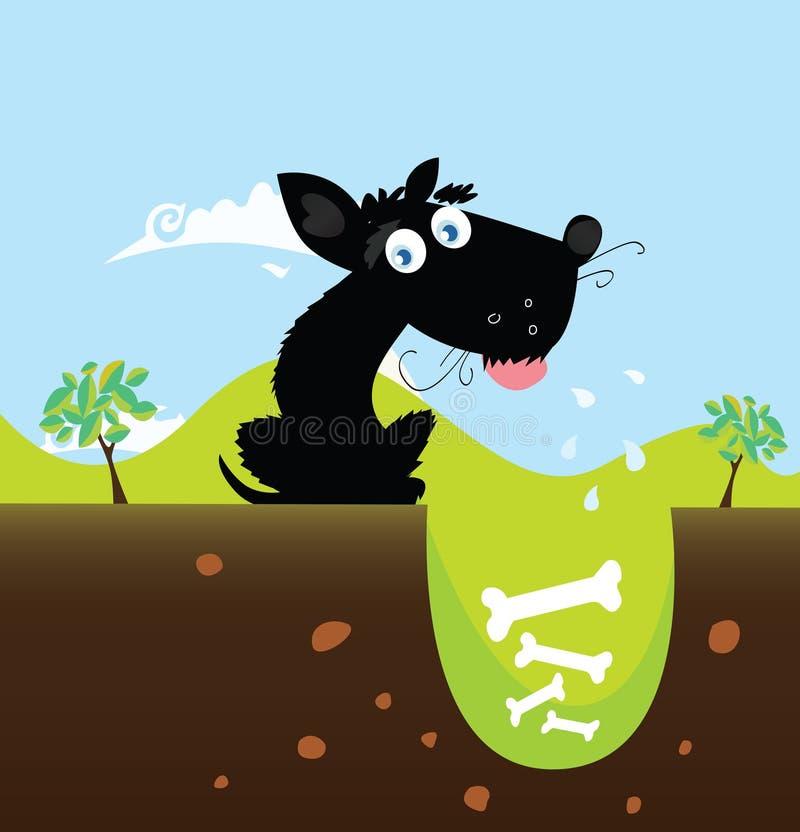 Perro negro con los huesos ilustración del vector